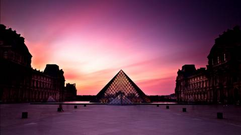 louvre museum at sunset